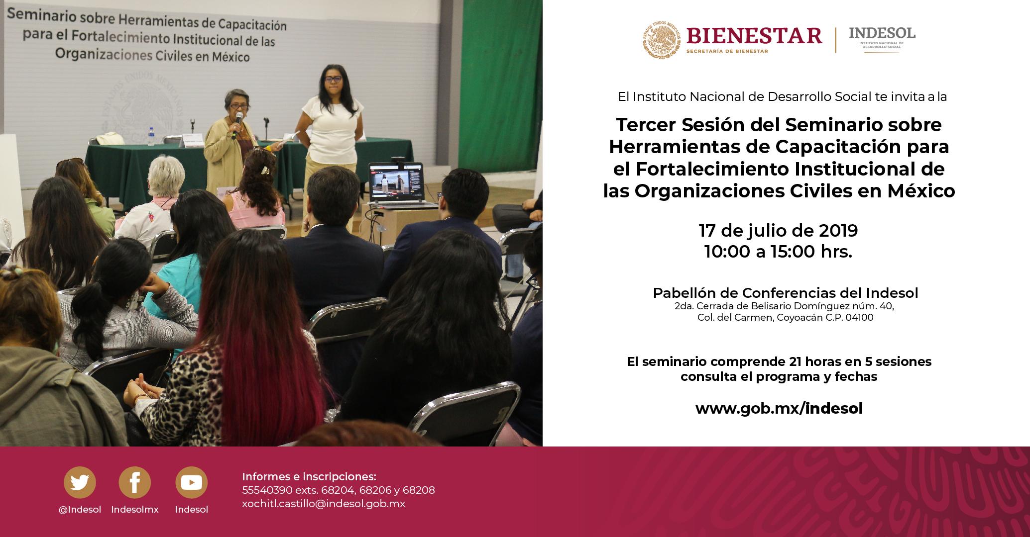 Banner de invitación a la tercer sesión del seminario sobre herramientas de capacitación para el fortalecimiento institucional de las OSC en México