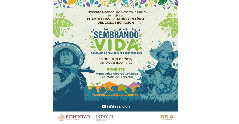 Banner invitación al conversatorio en línea sobre el programa sembrando vida