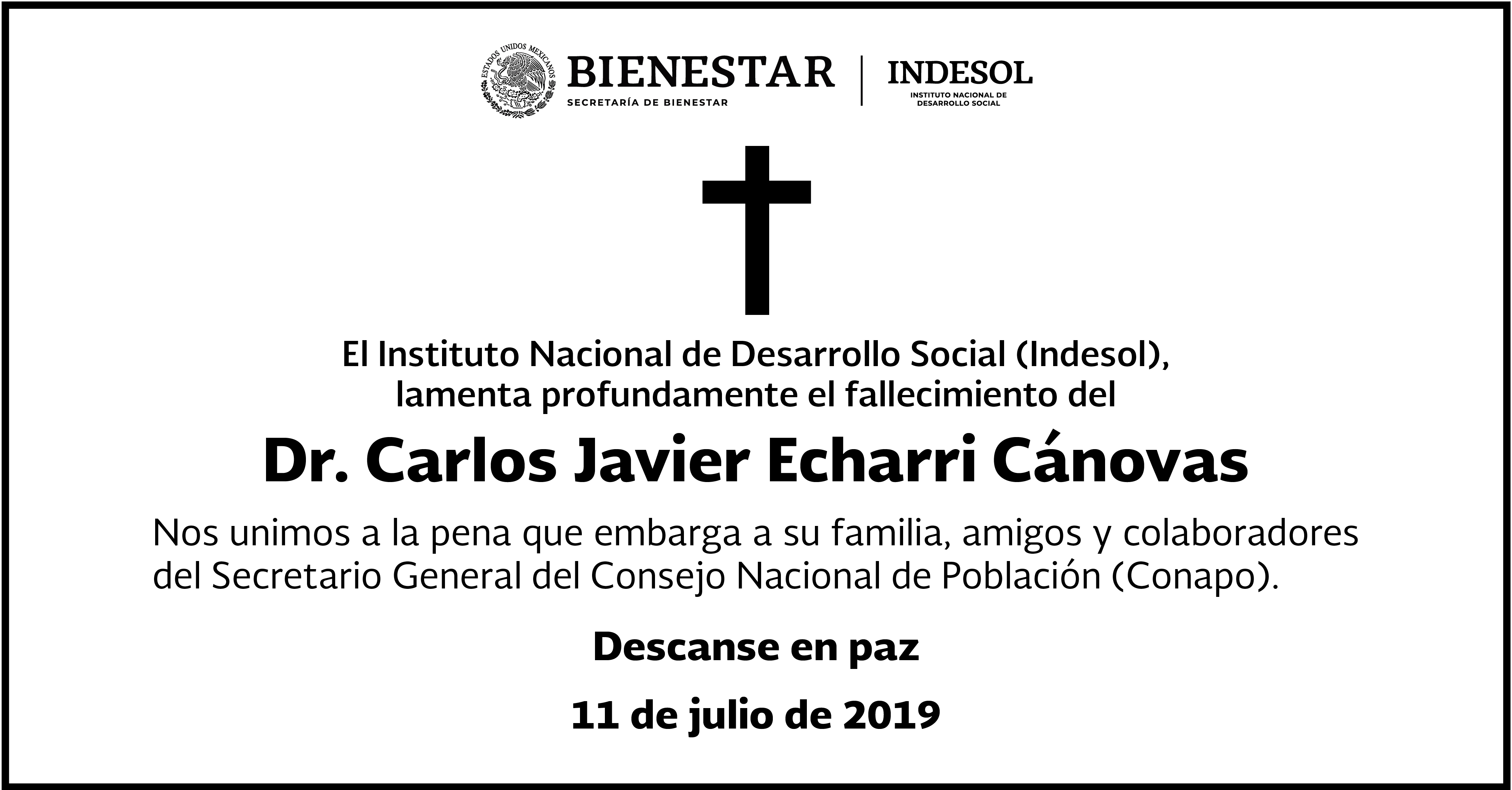Esquela de Carlos Javier Echarri Cánovas