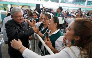 El presidente de México, Andrés Manuel López Obrador, durante su diálogo con la Comunidad del Hospital Rural de Ario de Rosales, Michoacán.