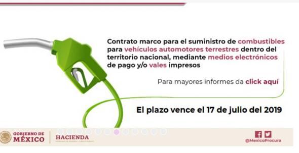 Contrato marco para el suministro de combustibles para vehículos automotores terrestres dentro del territorio nacional, mediante medios electrónicos de pago y/o vales impresos