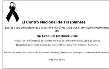 CENATRA envía condolencias a familia Martínez Cruz