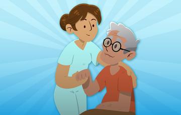 Gerontóloga toma de la mano a una persona adulta mayor.