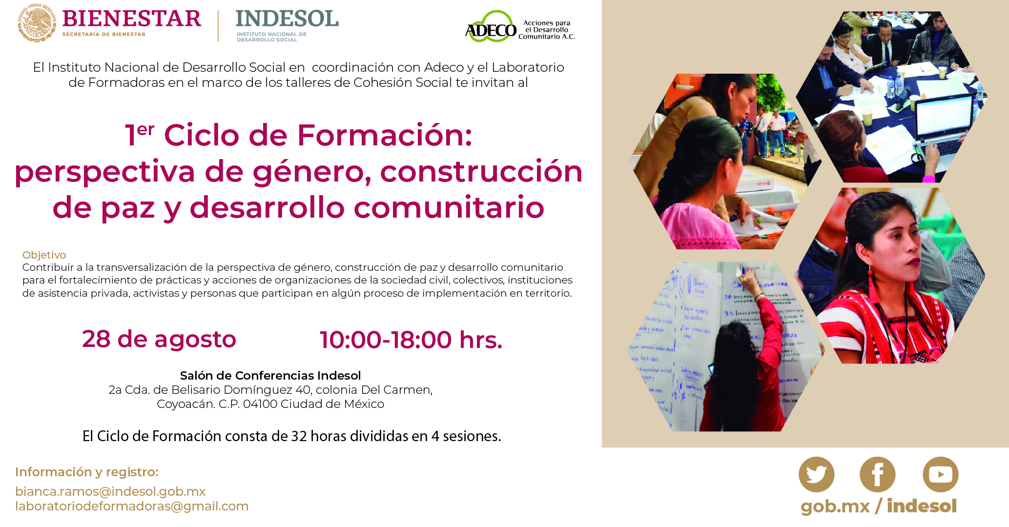 Invitación Primer Ciclo de Formación: perspectiva de género, construcción de paz y desarrollo comunitario