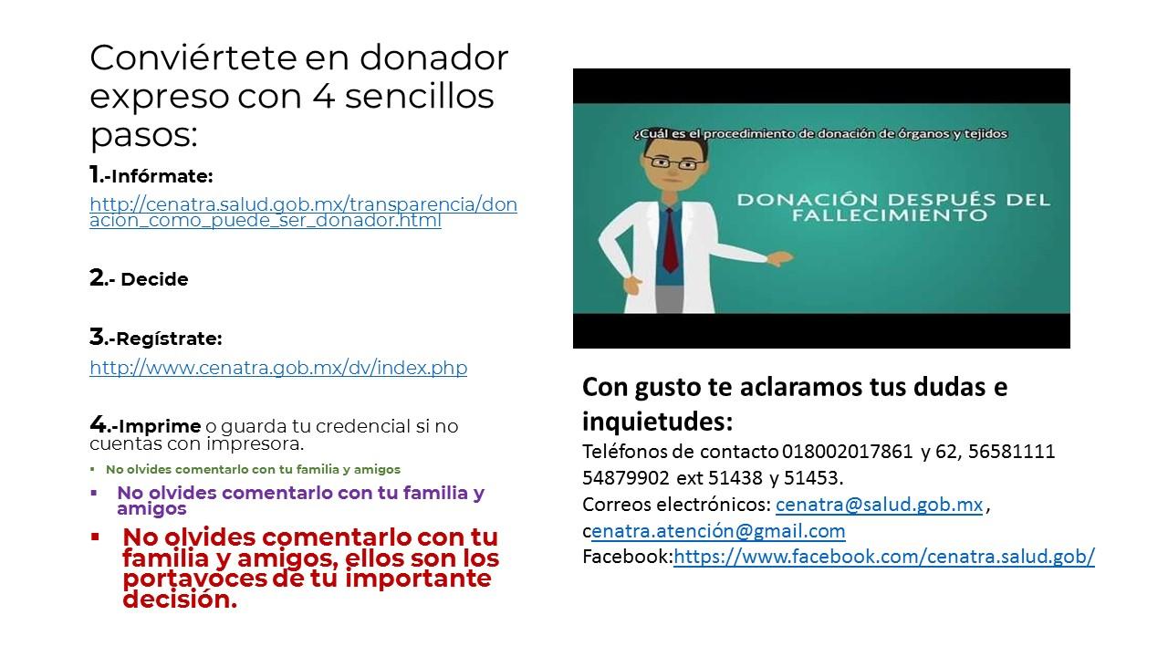 Donación de Órganos y Tejidos con Fines de Trasplante