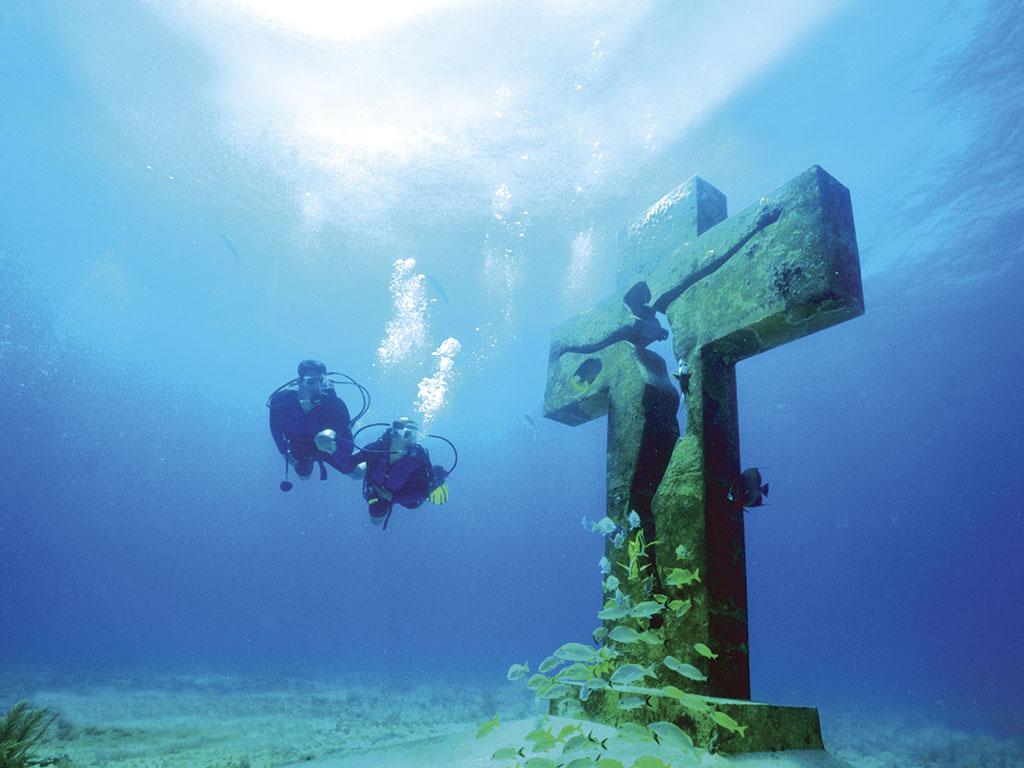 Buceando en el MUSA, Museo Subacuático de Arte en Isla Mujeres, Quintana Roo