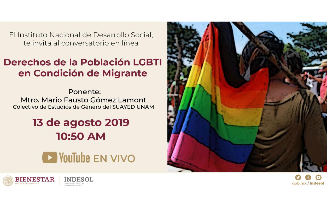 Banner invitación al conversatorio sobre Derechos de la Población LGBTI en condición de migrante