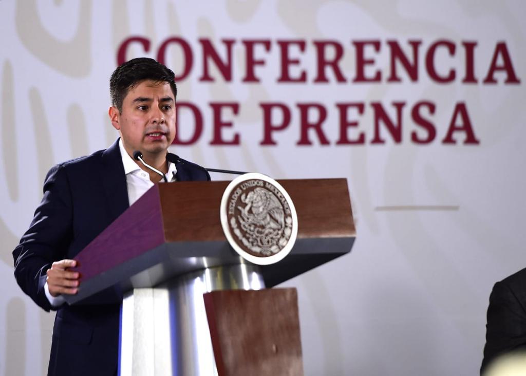 Guillermo Santiago Rodríguez, durante su participación en la conferencia matutina en Palacio Nacional.