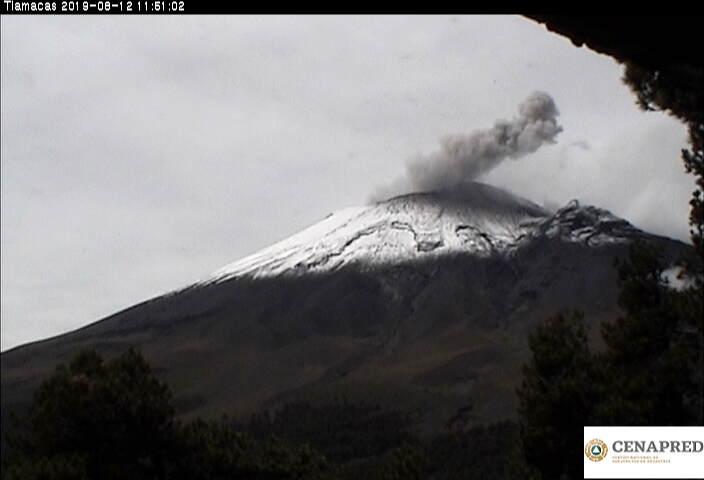 En las últimas 24 horas por medio de los sistemas de monitoreo del volcán Popocatépetl se identificaron 209 exhalaciones, 496 minutos de tremor, siete explosiones moderadas y dos fuertes