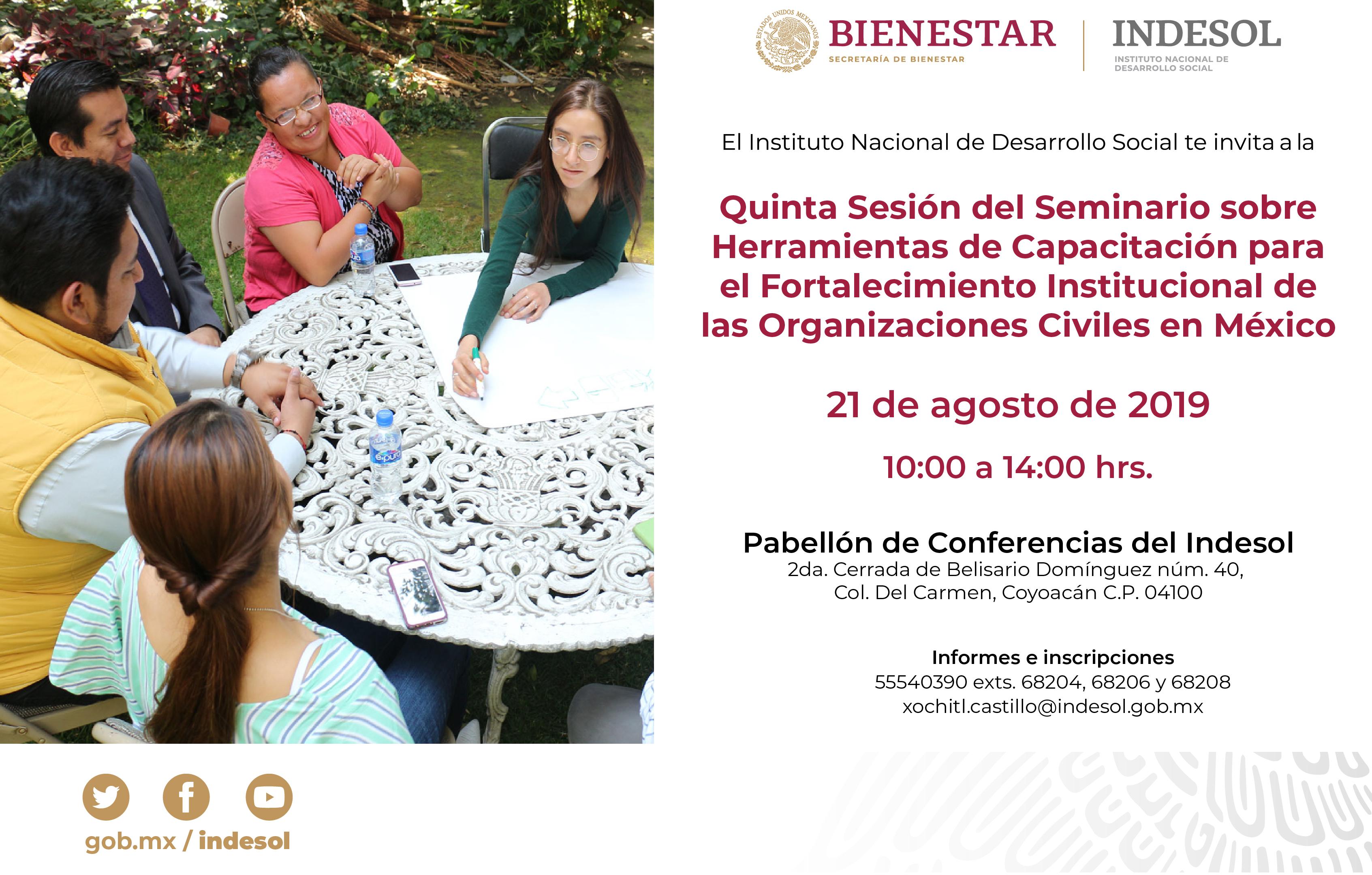 Invitación a la quinta sesión del seminario sobre herramientas de capacitación para el fortalecimiento institucional de las organizaciones civiles en México