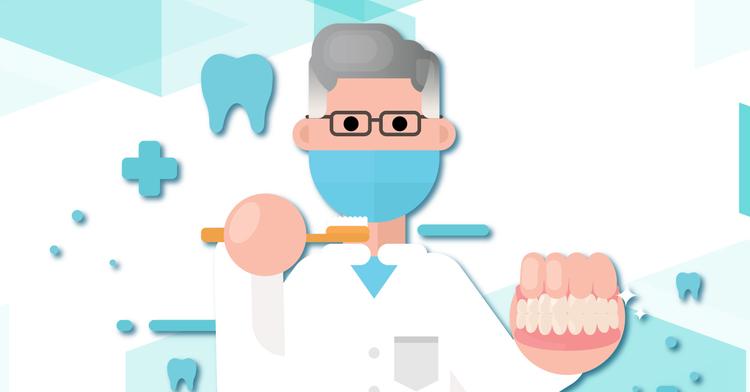 Dentista, en una mano tiene un cepillo de dientes y en la otra una dentadura.