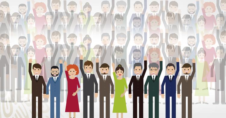 Una serie de diversas personas levantando la mano tratando de participar