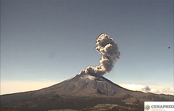 En las últimas 24 horas por medio de los sistemas de monitoreo del volcán Popocatépetl se identificaron 175 exhalaciones, ocho explosiones y 683 minutos de tremor.