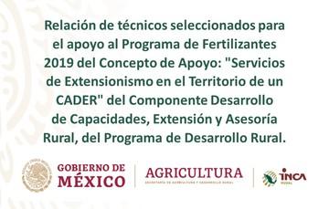 """texto.Relación de técnicos seleccionados para el apoyo al Programa de Fertilizantes 2019 del Concepto de Apoyo: """"Servicios de Extensionismo en el Territorio de un CADER"""" del Componente Desarrollo de Capacidades, Extensión y Asesoría Rural, del Programa de"""