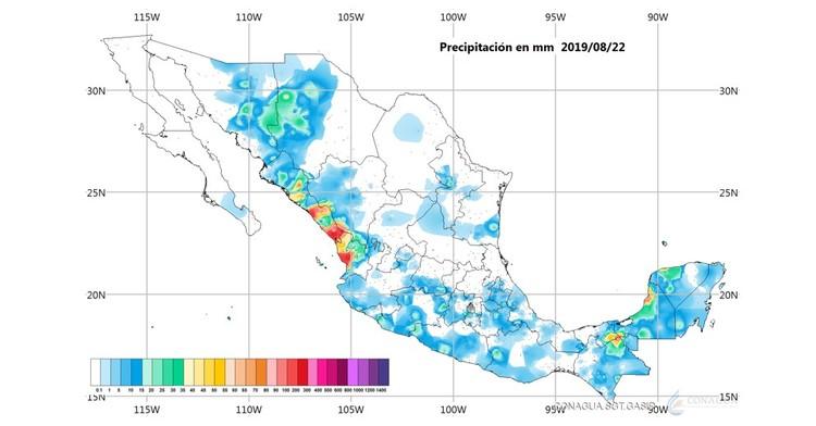Imagen de un mapa de la república mexicana con algunas marcas en estados, que registran niveles de precipitación. Logotipo de Conagua.