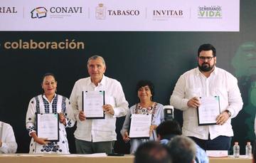 El convenio de colaboración contempla la producción social de vivienda en beneficio de 100 familias tabasqueñas incorporadas al Programa Sembrando Vida.