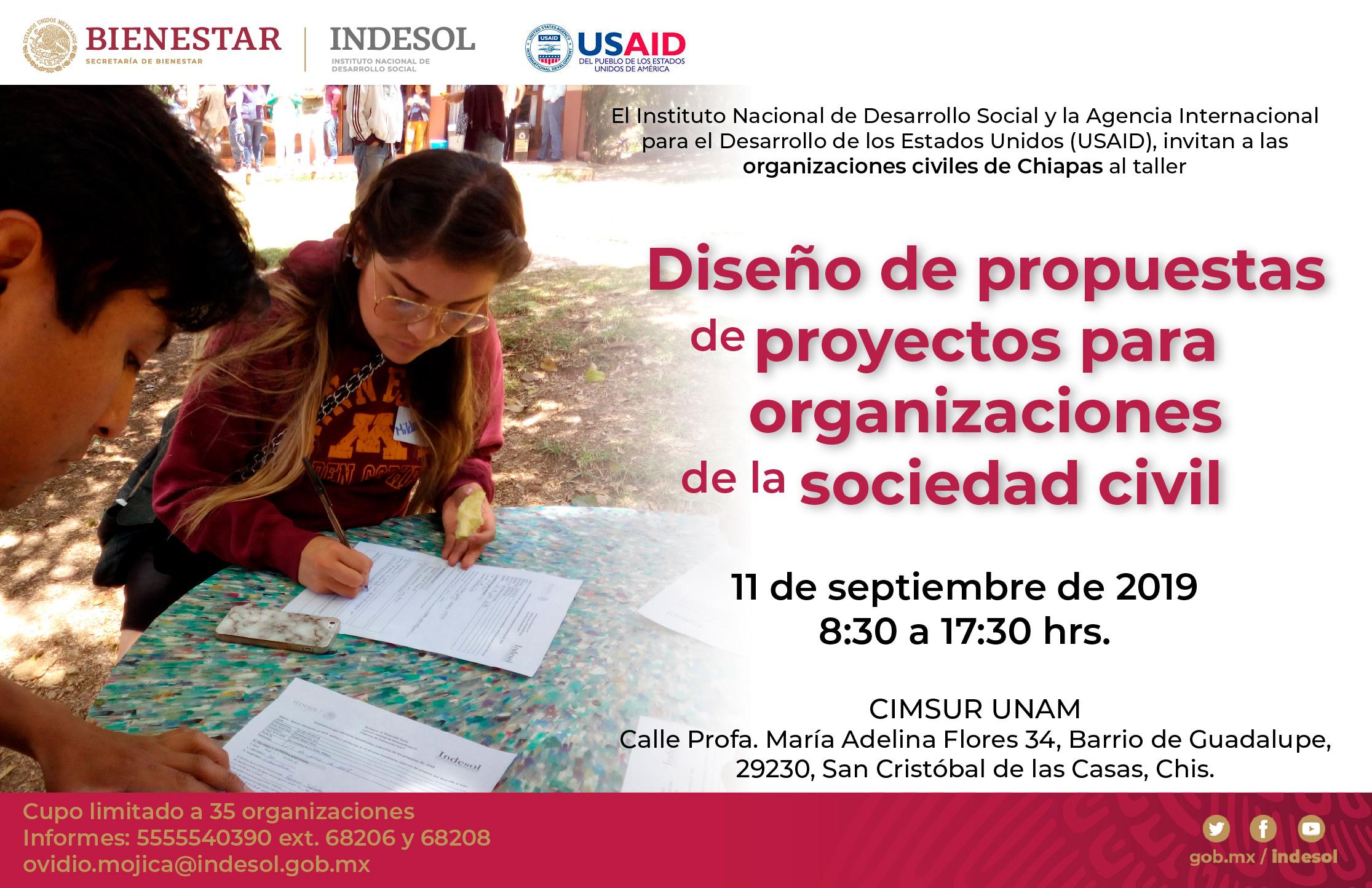 Banner invitación Diseño de propuestas de proyectos para organizaciones de la sociedad civil