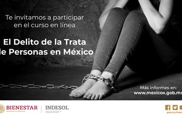 Banner invitación al curso en línea El Delito de la Trata de Personas en México