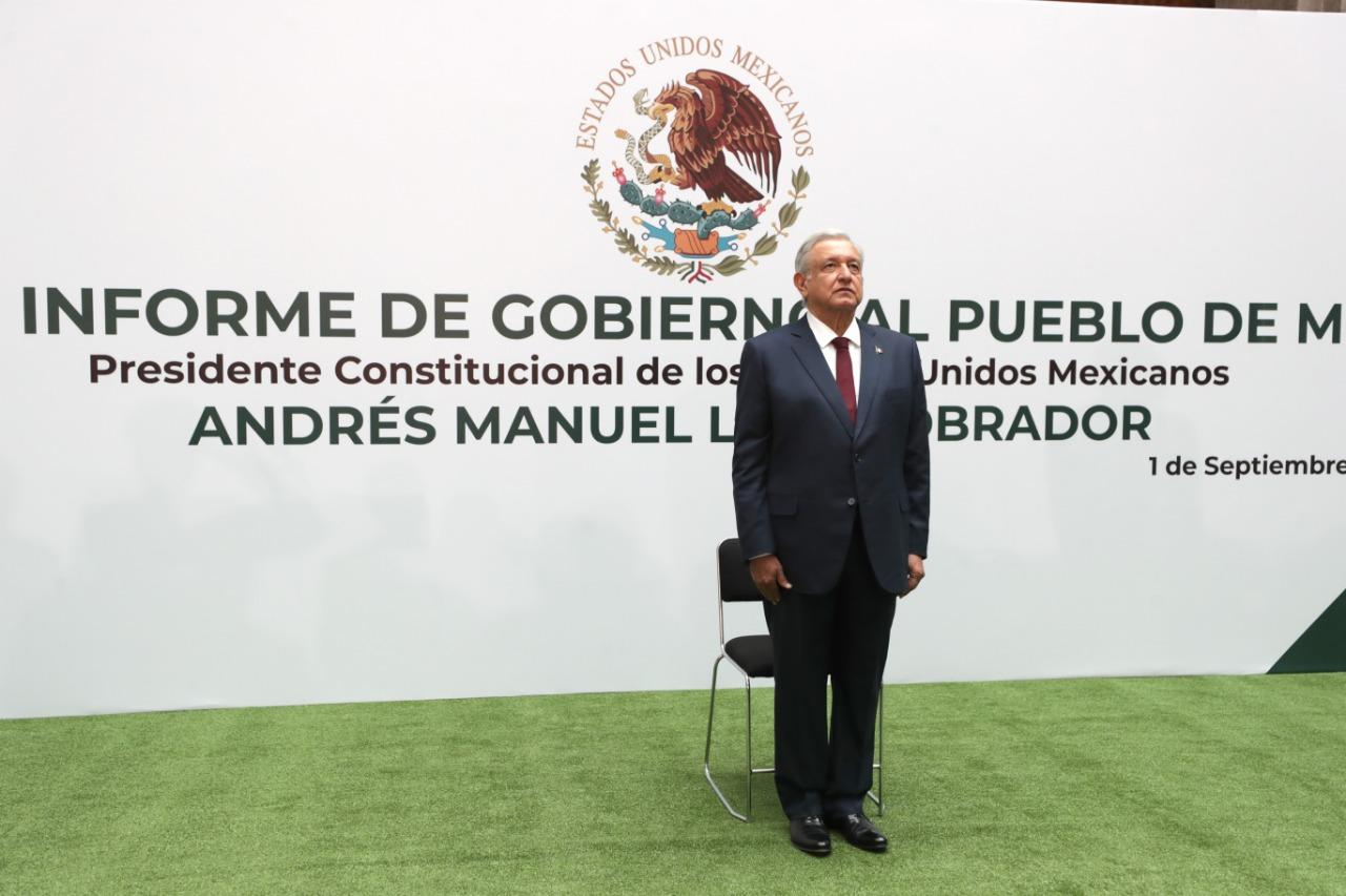 El presidente de México, Andrés Manuel López Obrador, durante el Informe de Gobierno al pueblo de México.