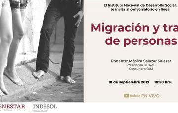 Invitación al conversatorio en línea Migración y trata de personas