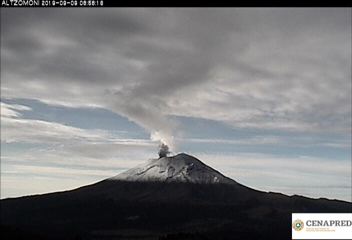 Por medio de los sistemas de monitoreo del volcán Popocatépetl se identificaron 169 exhalaciones, cinco explosiones menores, 624 minutos de tremor y un sismo volcanotectónico.