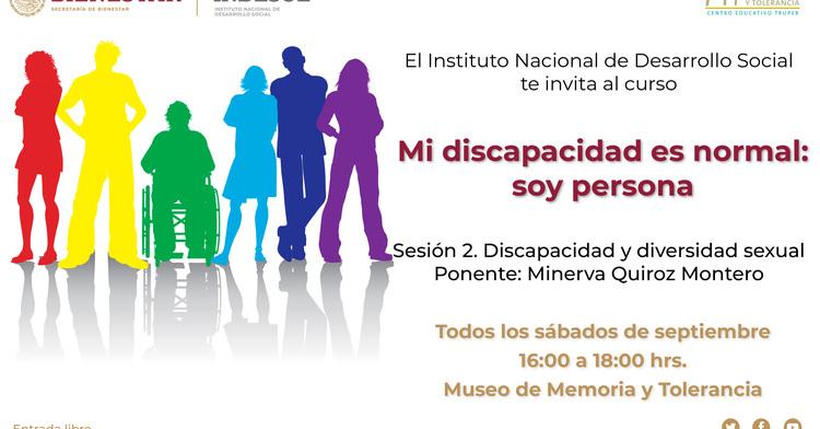 """Banner curso Memoria y Tolerancia """"Mi discapacidad es normal: soy persona"""""""
