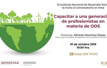 """Banner conversatorio Indesol """"Capacitar a una generación de profesionistas en materia de ODS"""""""