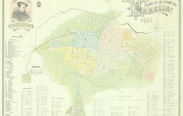 """Plano de la Ciudad de Morelia, lugar que recibe su nombre en honor a José María Morelos y Pavón. Este fue realizado en 1898 y forma parte del acervo de la Mapoteca """"Manuel Orozco y Berra""""."""