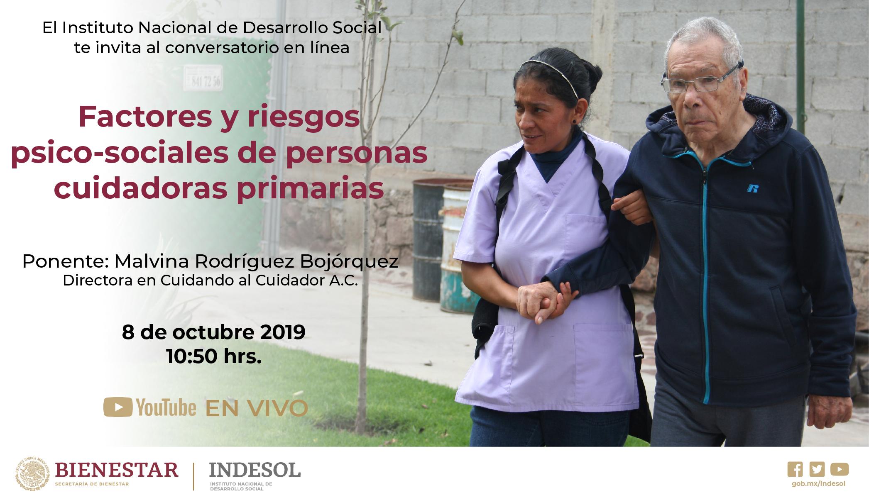 Banner invitación al conversatorio en línea Factores y riesgos psicosociales de personas cuidadoras primarias