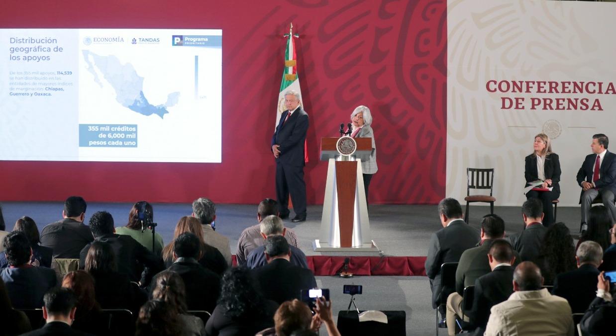 """Entrega el Gobierno de México 355 mil créditos, equivalentes a 2,120 millonesde pesos, del Programa de Microcréditos o """"Tandas"""" para el Bienestar"""