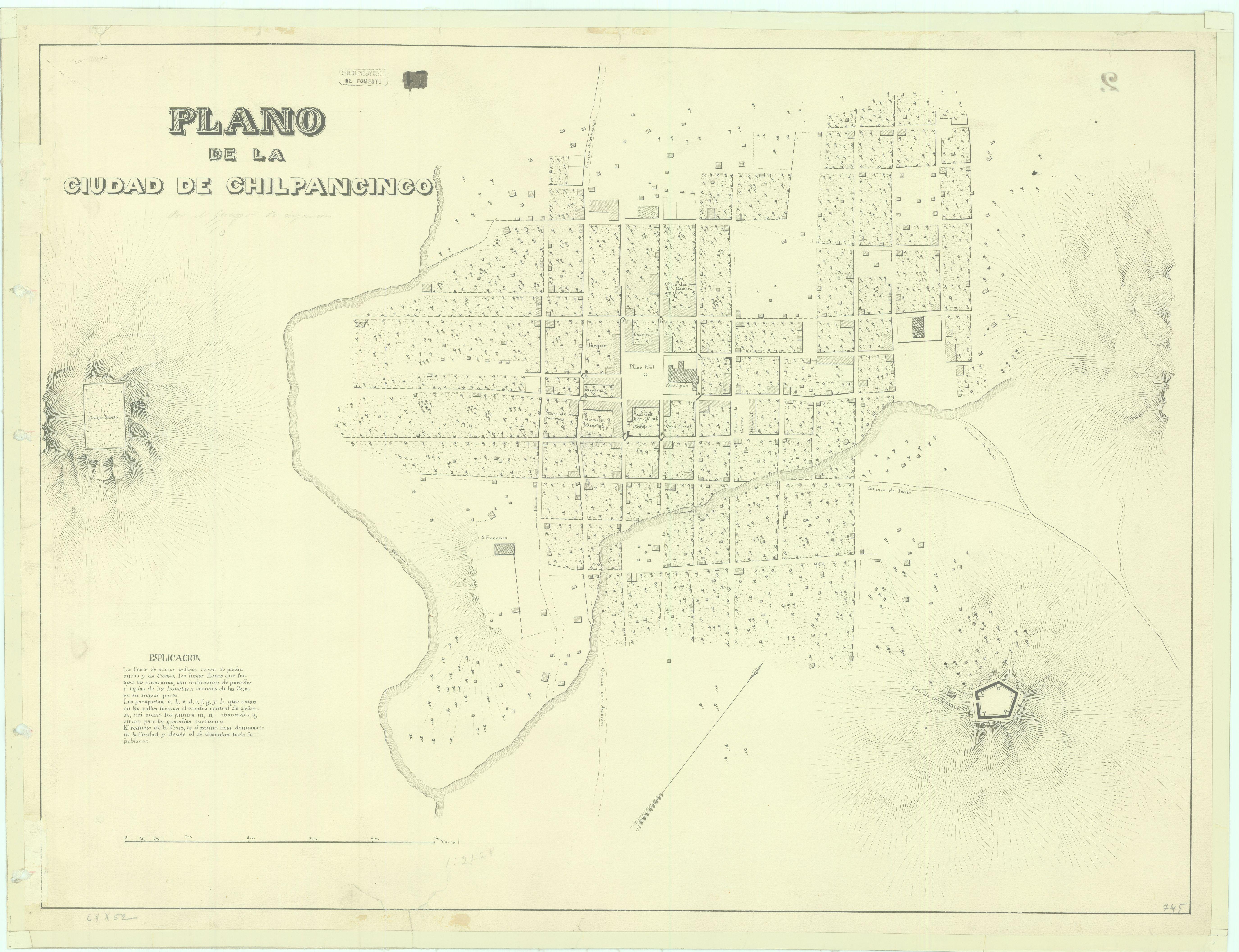 En el acervo de la Mapoteca Manuel Orozco y Berra, se encuentra este plano, que da cuenta de la ciudad de Chilpancingo en el siglo XIX.