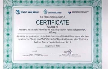 Reconocimiento a RENAPO y a los Registros Civiles por parte del Banco Mundial