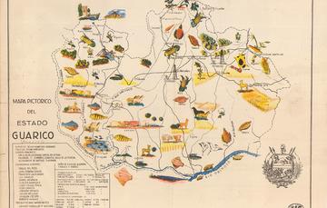 Mapa pictórico del estado de Guárico, Venezuela, que da cuenta de su hábitat; es decir su población, hidrografía y su producción agroalimentaria y ganadera.