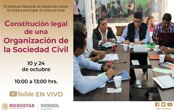 Banner invitación al curso en línea constitución legal de una OSC