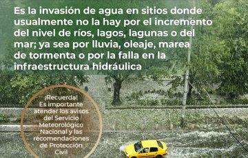 Las inundaciones pueden ocurrir por lluvias intensas, desbordamiento de ríos, penetración del agua de mar (por oleaje y marea de  tormenta) o por falla de alguna estructura hidráulica