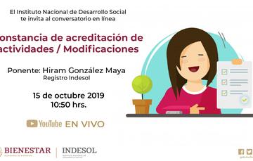 Banner conversatorio en línea Constancia de acreditación de actividades / Modificaciones