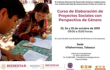 Banner Curso de Elaboración de Proyectos Sociales con Perspectiva de Género