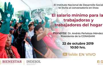 Banner conversatorio en línea El salario mínimo para las trabajadoras y trabajadores del hogar