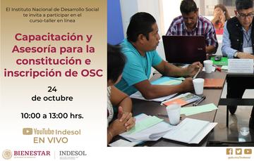 Banner curso en línea Capacitación y Asesoría para la constitución e inscripción de OSC