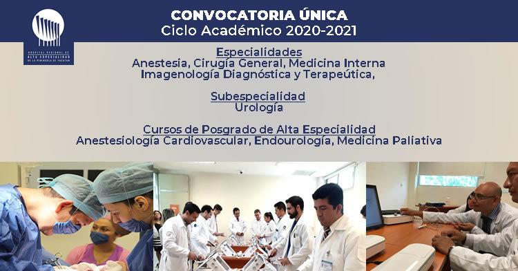 Imagen alusiva a la convocatoria para residencias médicas del  HRAEPY, ciclo académico 2020-2021