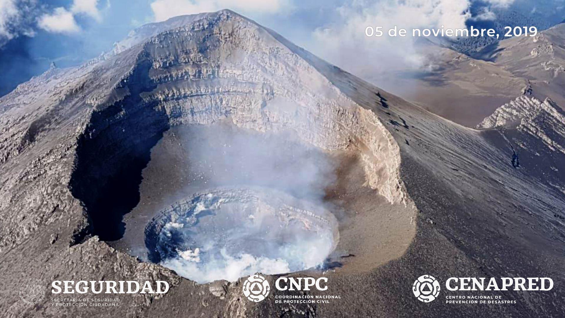 El día 5 de noviembre, con el apoyo de la Guardia Nacional, se realizó un sobrevuelo de reconocimiento al cráter del volcán Popocatépetl. Durante dicho sobrevuelo, especialistas del Centro Nacional de Prevención de Desastres (CENAPRED).