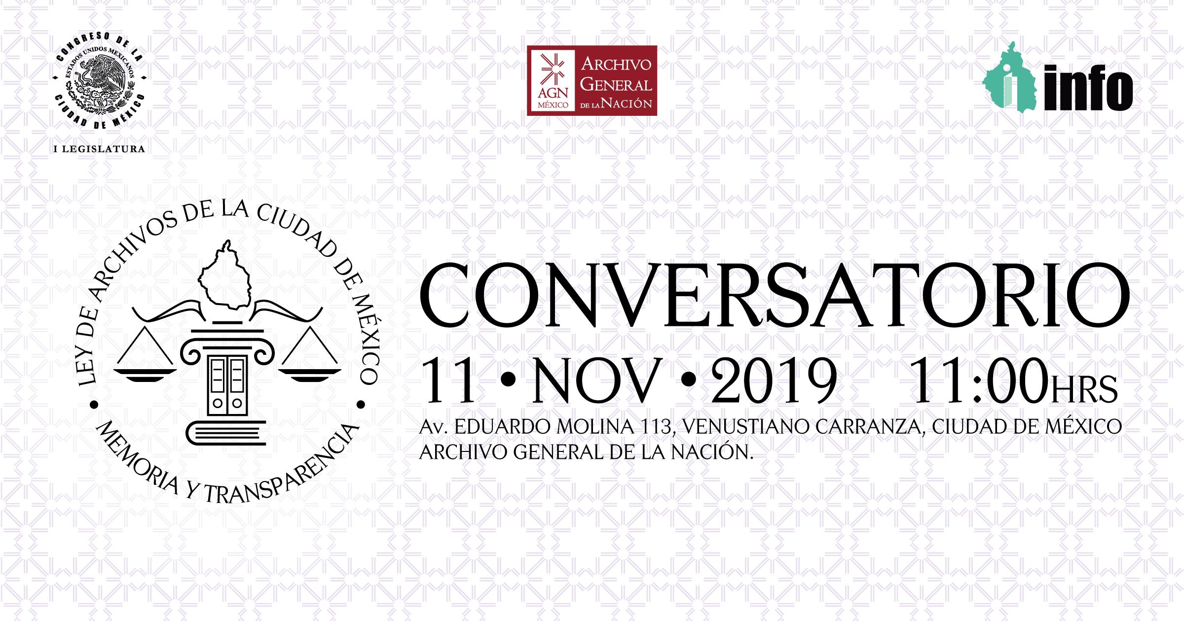 """Imagen de convocatoria con el texto Conversatorio """"Ley de Archivos de la CDMX: Memoria y Transparencia"""""""