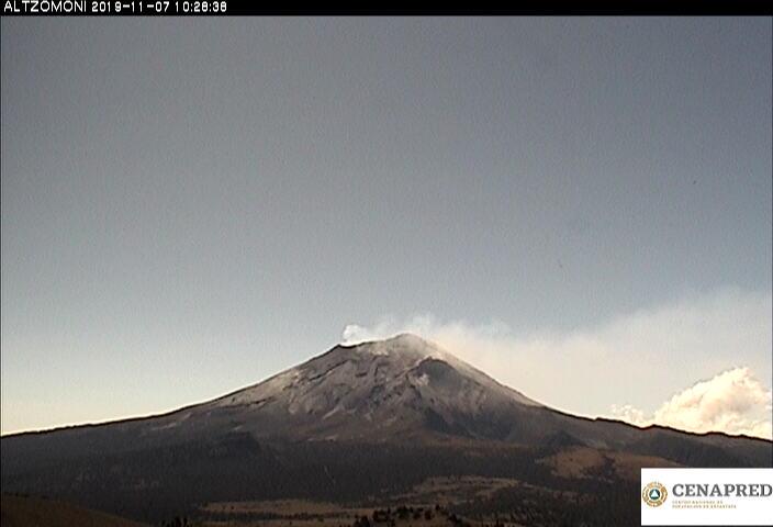 Por medio de los sistemas de monitoreo del volcán Popocatépetl se identificaron 118 exhalaciones, acompañadas de gases y ligeras cantidades de ceniza.