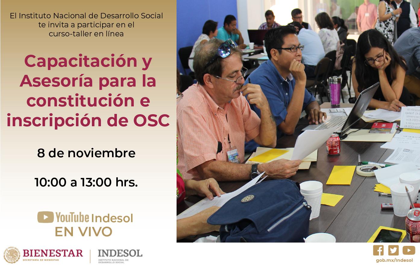 Banner invitación al curso-taller en línea Capacitación y Asesoría para la constitución e inscripción de OSC
