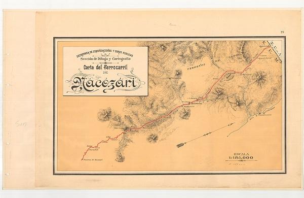 La Mapoteca Manuel Orozco y Berra resguarda estas cartas ferrocarrileras, una del tramo de Nacozari y otra de la República Mexicana.