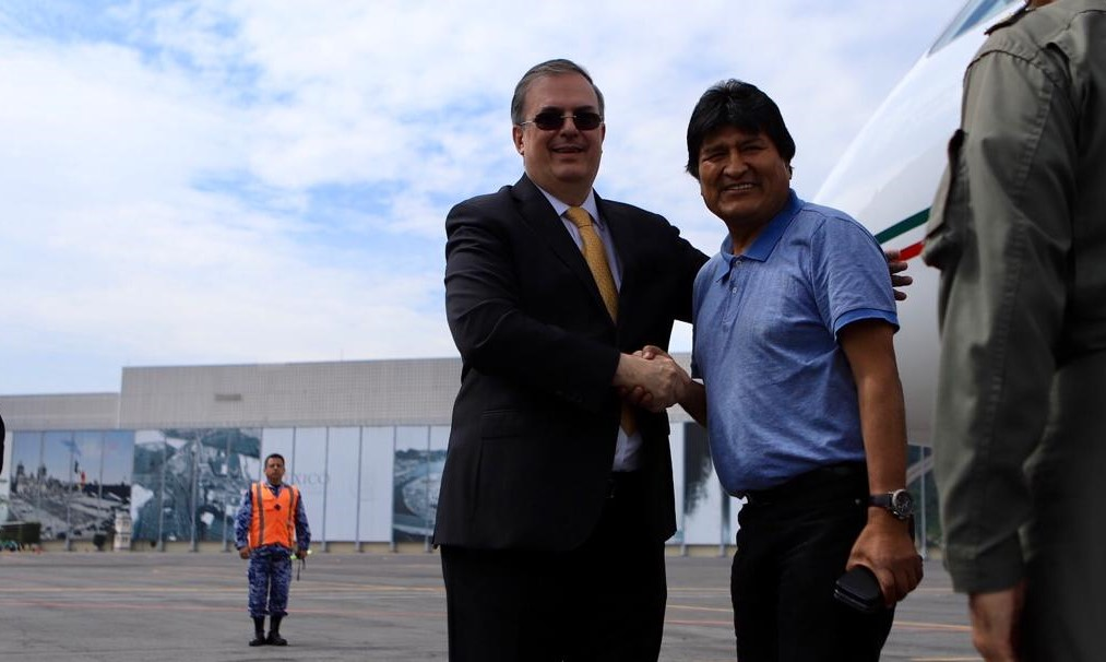 El canciller Marcelo Ebrard recibe a Evo Morales en nuestro país