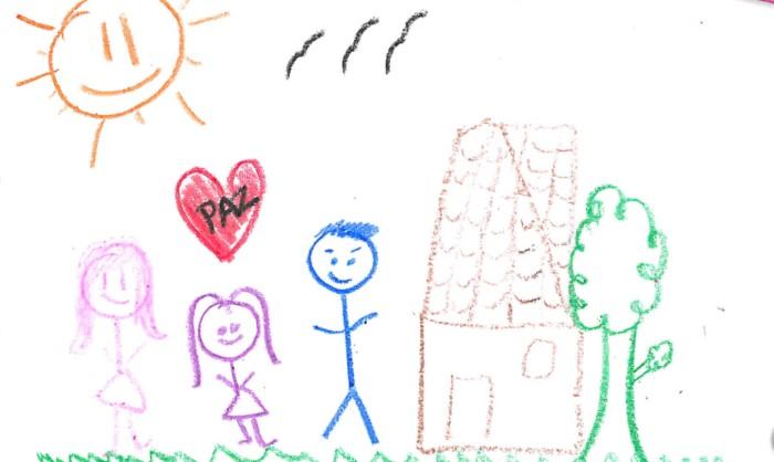 """Dibujo con dos niñas y un niño, con un corazón que tiene la palabra """"Paz""""."""