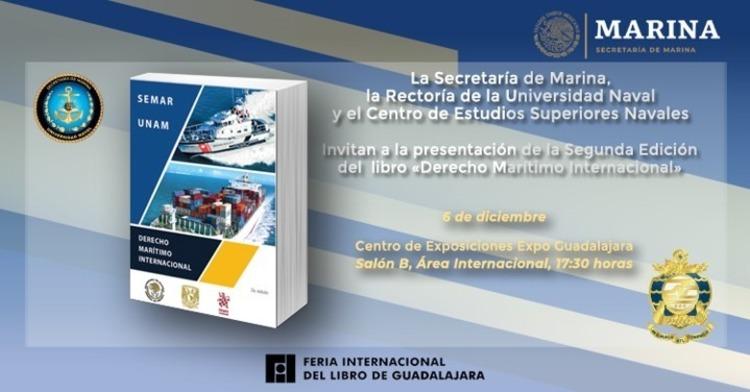 Imagen con libro y el texto Presentación del Libro Derecho Marítimo Internacional