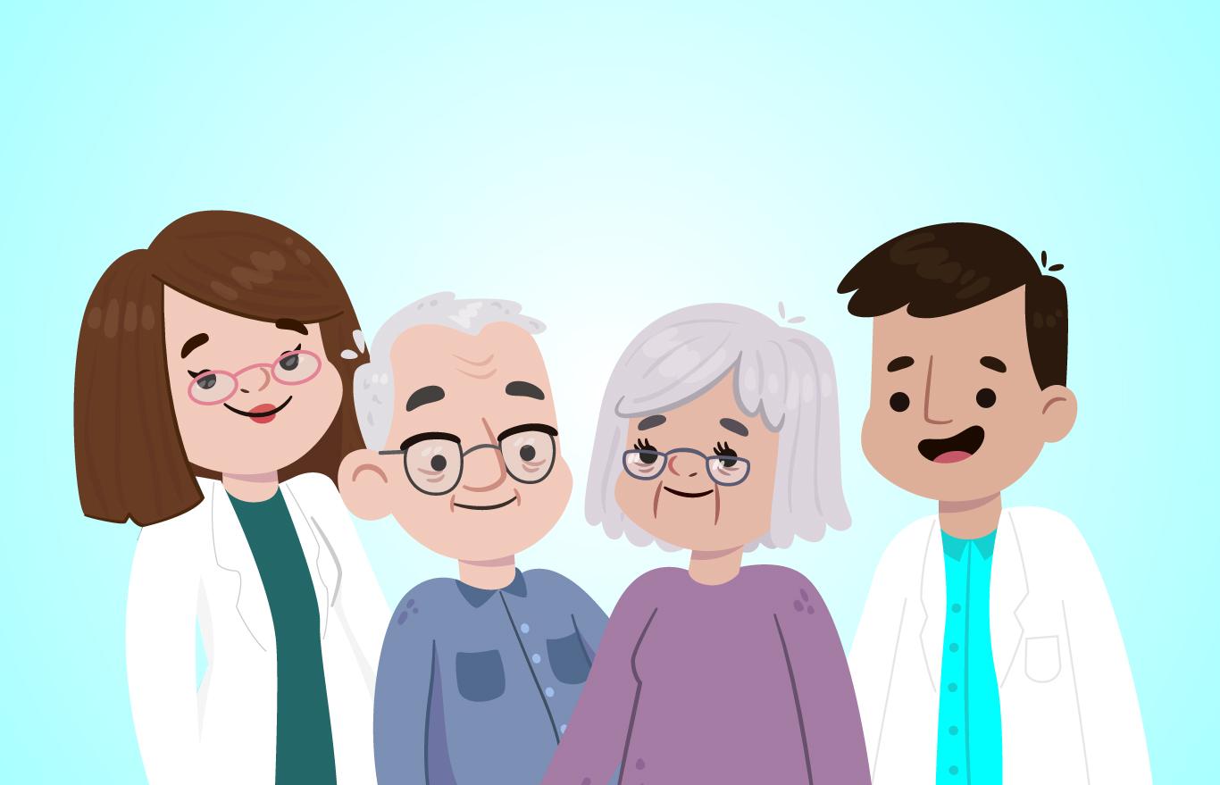 Dos gerontólogos con dos personas adultas mayores.