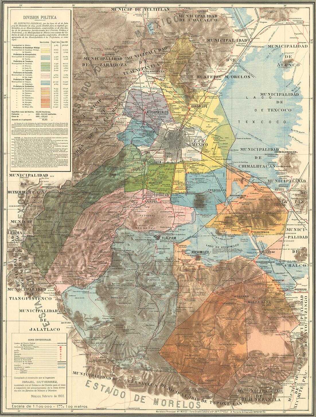 """Para conmemorar un año más de la fundación del Distrito Federal, la Mapoteca """"Manuel Orozco y Berra"""" presenta la """"Carta Política del Distrito Federal"""", de 1902."""